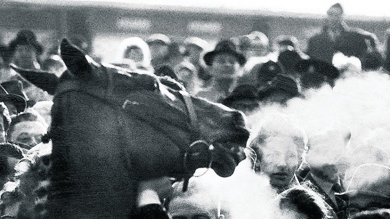 Arkle breathes fire in the winner's enclosure after his first and greatest Gold Cup victory