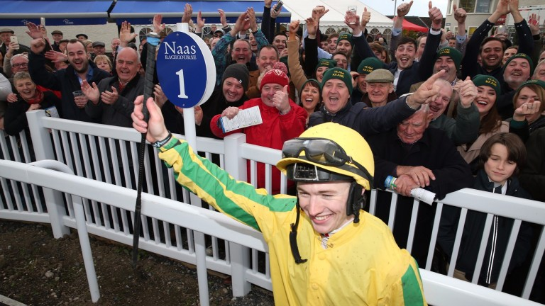Colin Keane celebrates at Naas after being crowned champion jockey