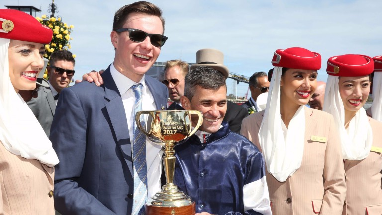 Joseph O'Brien: has won a second Melbourne Cup, his first coming in 2017 (pictured)