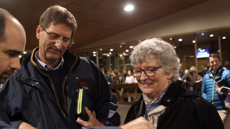 Chris and Annie Richardson in purchasing mode at Fasig-Tipton