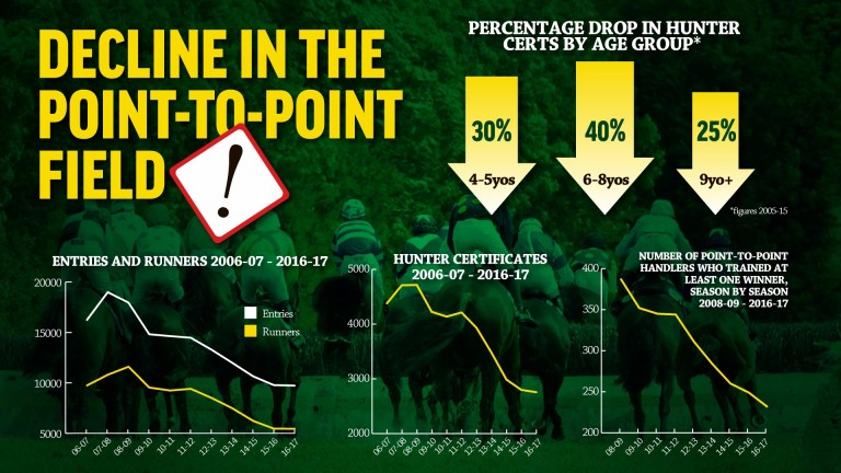These graphs depict the decline of entries and runners in Irish Point-To-Points over the years