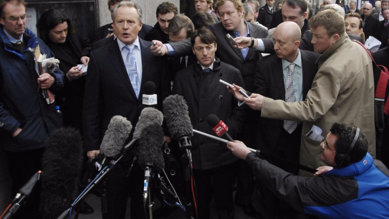 Kieren Fallon (centre) emerges from the Old Bailey after the collapse of the 'race-fixing' trial