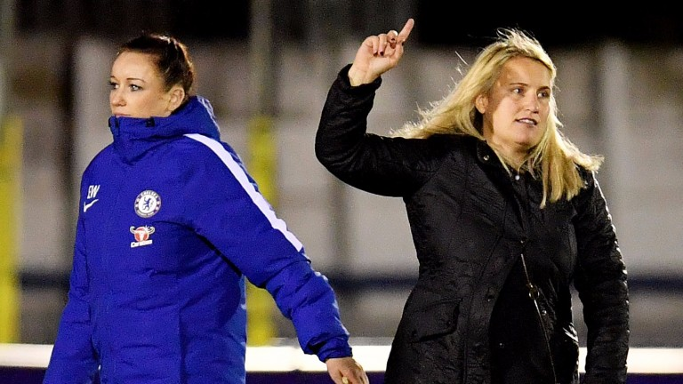 Chelsea manager Emma Hayes (right)