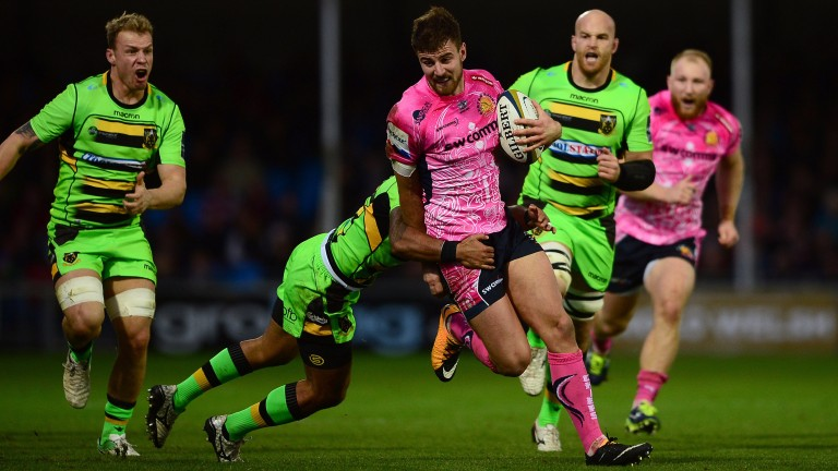 Exeter ran in seven tries against Northampton in the Anglo-Welsh Cup