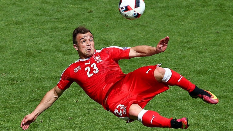 Switzerland's Xherdan Shaqiri shows his trickery