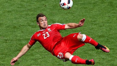 Switzerland's Xherdan Shaqiri shows his trickery