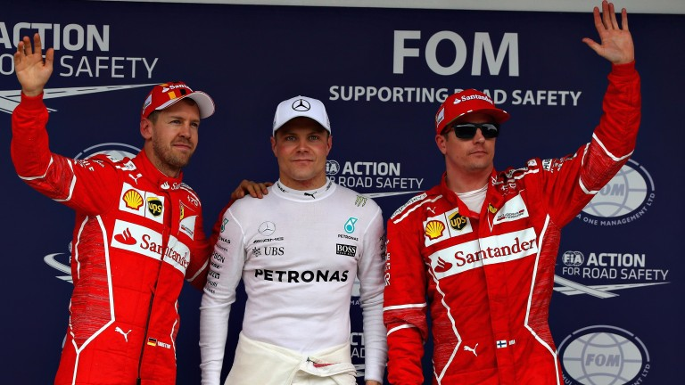Valtteri Bottas (centre) could have his work cut out to keep the Ferraris of Sebastian Vettel (left) and Kimi Raikkonen at bay