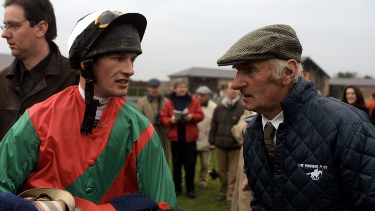 Paul Carberry and James Bowe after Limestone Lad defeated Ned Kelly in the 2001 Morgiana Hurdle