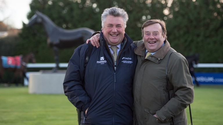 Paul Nicholls and Nicky Henderson in the paddock before the graduation chase for which they supplied the only two runners