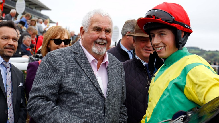 Alan Potts pictured with Bryan Cooper after Finian's Oscar won at Chepstow last month