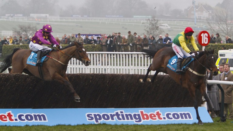 Sizing Europe (Andrew Lynch) wins the 2011 Queen Mother Champion Chase from Big Zeb