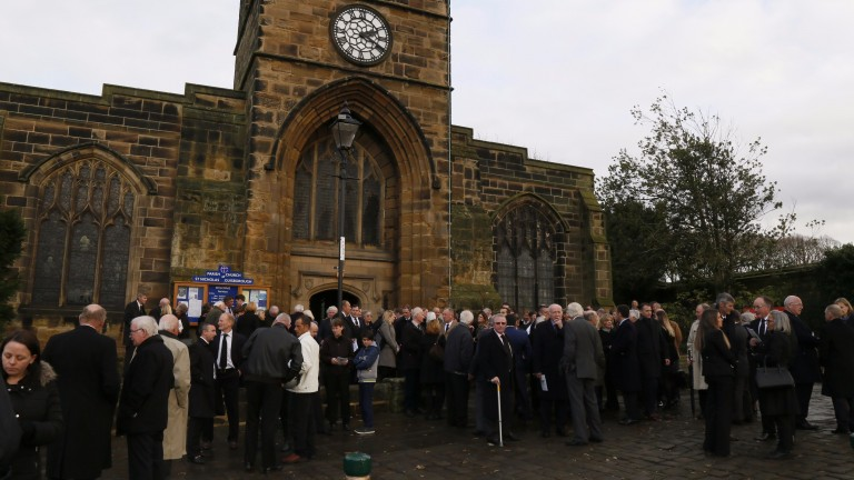 The congregation gather outside St Nicholas Church in Guisborough