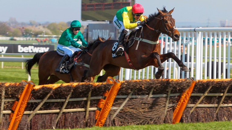 Finian's Oscar (Robbie Power) wins the Grade 1 Betway Mersey Novices' Hurdle at Aintree in April