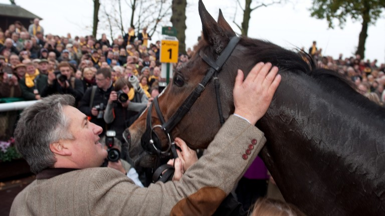 Paul Nicholls and Kauto Star receive a rapturous reception in the Haydock winner's enclosure