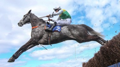 Cloudy Dream and Brian Hughes on the way to success in the Future Champions Chase at Ayr