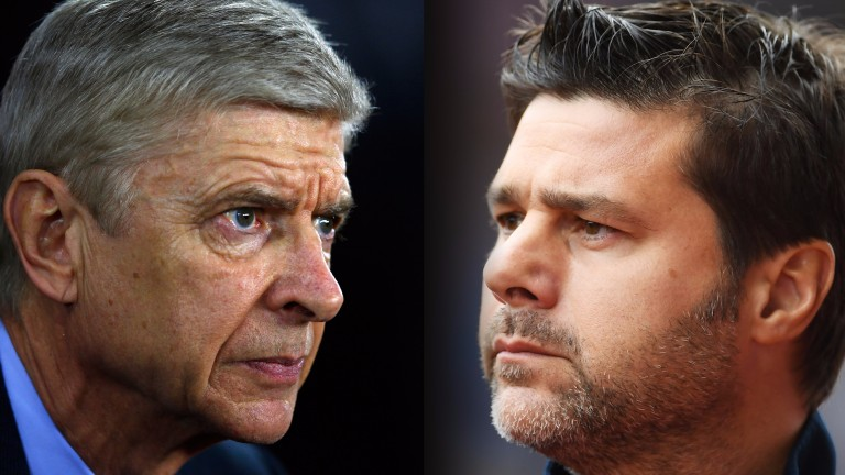 Arsenal manager Arsene Wenger takes on Tottenham's Mauricio Pochettino