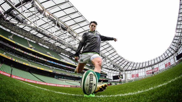 Joey Carbery goes through his kicking paces at the Aviva Stadium
