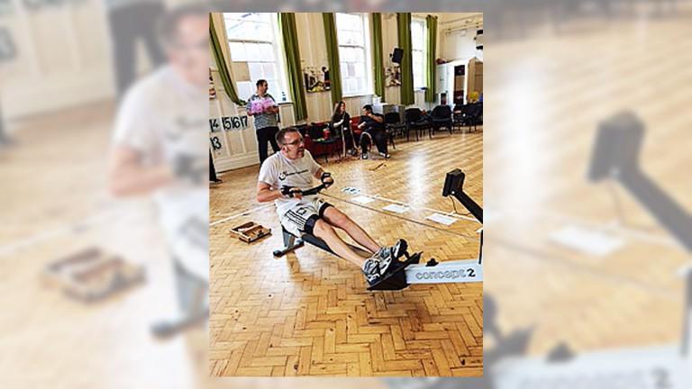 Andrew Cambridge on rowing machine