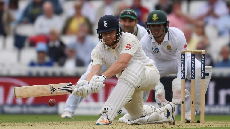 England wicketkeeper Jonny Bairstow sweeps against South Africa at The Oval