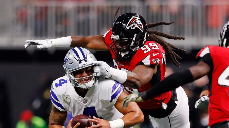 Atlanta's Adrian Clayborn sacked Dallas's Dak Prescott six times last week