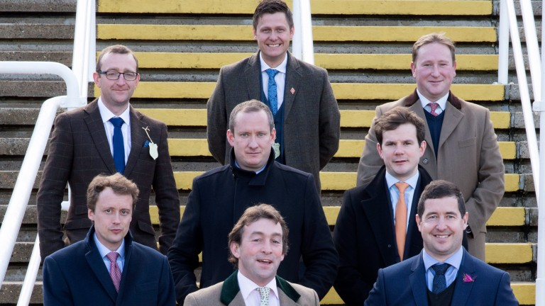 Winners all: (back row, l-r): Frazer Houston (2006), Paul Robson (2009) and Sam Stronge (2007); middle row: Niall Hannity (2015, left) and Richard Killoran (2014); front row (l-r) Ben Swarbrick (2017) Mark Bradburne (2012) and Ollie McPhail (2013)