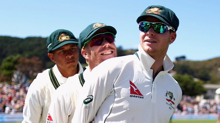 Usman Khawaja (left), David Warner and Steve Smith rack up the runs in home Tests