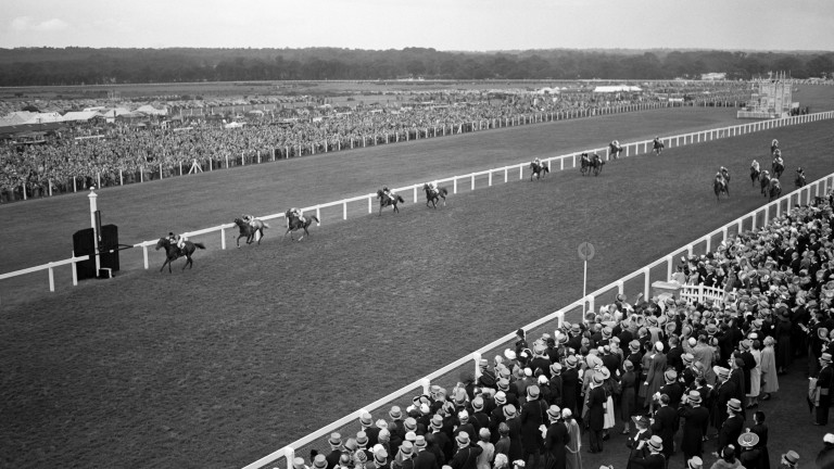 Choir Boy, owned by the Queen and ridden by Doug Smith, wins the 1953 Royal Hunt Cup at Royal Ascot