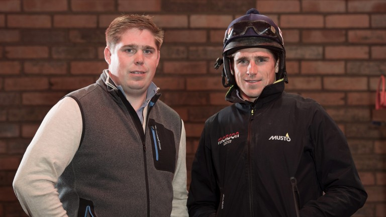 Not hanging around: Dan Skelton (left) brought up his century of winners at Leicester on Monday with a horse ridden by brother Harry