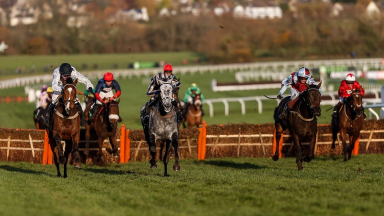 Elgin (left) stays on strongly to win the Greatwood Handicap Hurdle