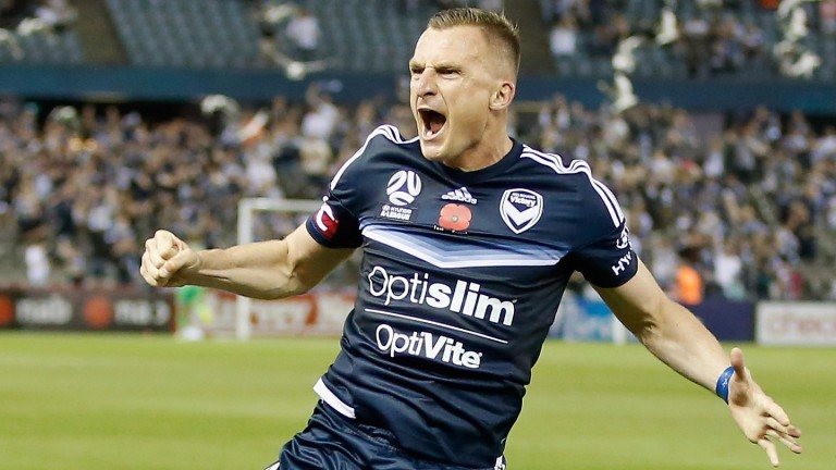 Besart Berisha of the Victory celebrates a goal
