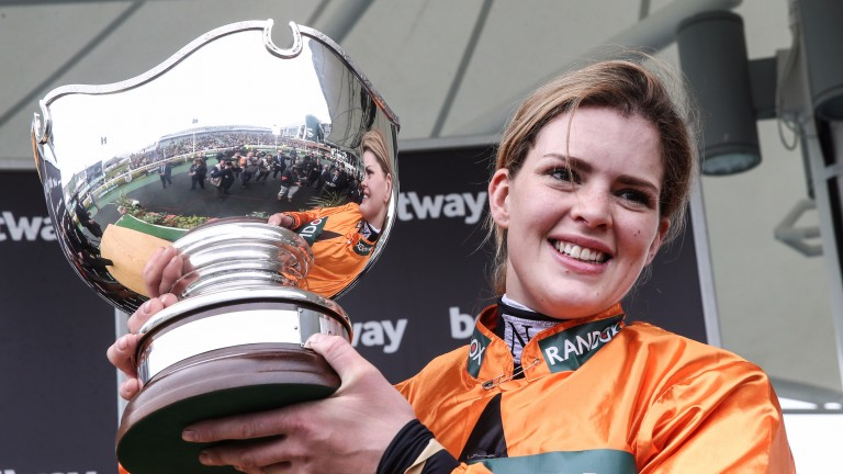 Lizzie Kelly with the Betway Bowl trophy after her Grade 1 victory on Tea For Two