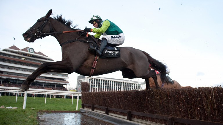Denman jumps the water en route to finishing second in the 2010 Hennessy
