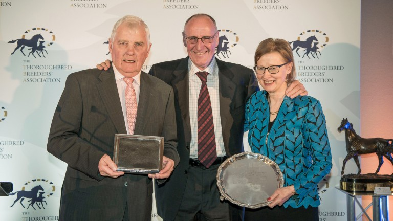 Midnights Legacy's owners David (left) and Kathleen Holmes, with Sizing John's breeder Bryan Mayoh