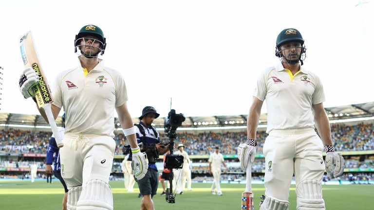 Steve Smith and Shaun Marsh shared an unbeaten 89-run stand on day two