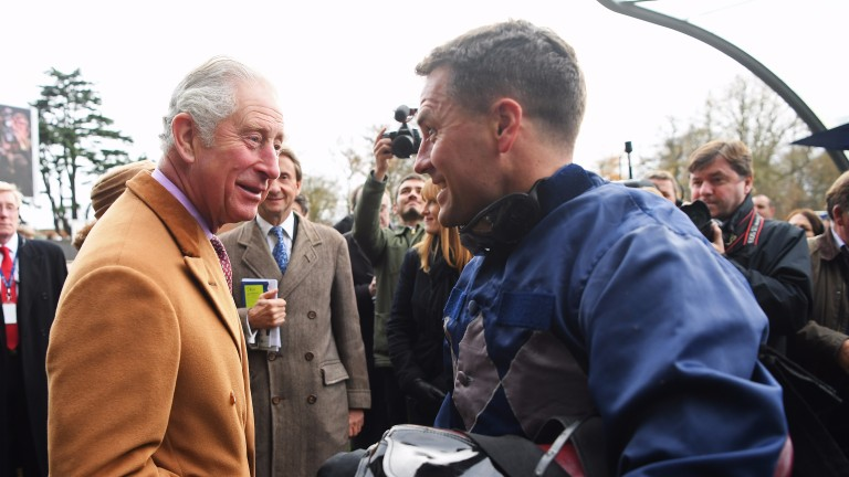 Michael Owen talks to Prince Charles at Ascot after finishing second on his riding debut