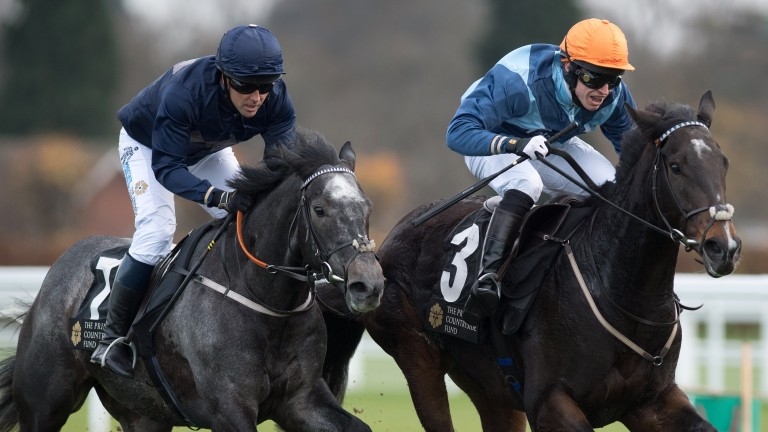 Owen, riding Calder Prince (left), finishes second to Golden Wedding (Tom Chatfield-Roberts) at Ascot