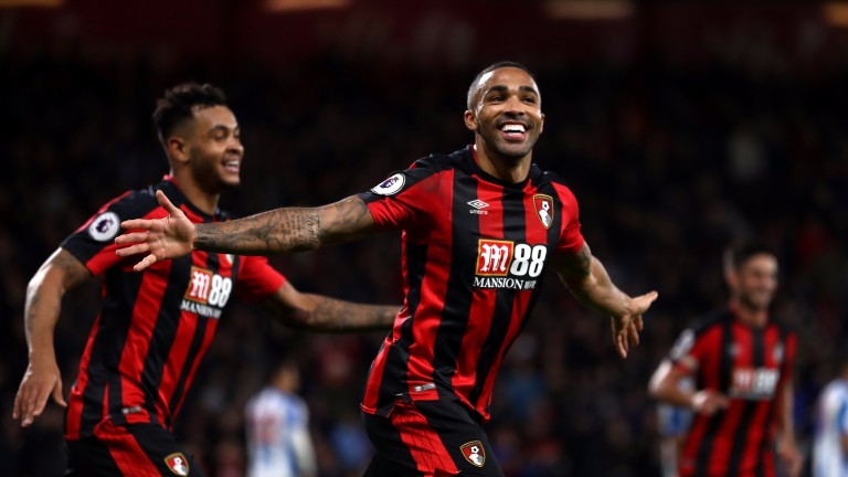 Callum Wilson enjoys his hat-trick goal and Bournemouth's fourth against Huddersfield