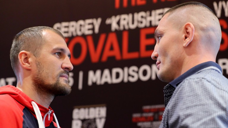 Sergey Kovalev (left) and Vyacheslav Shabranskyy stare each other down