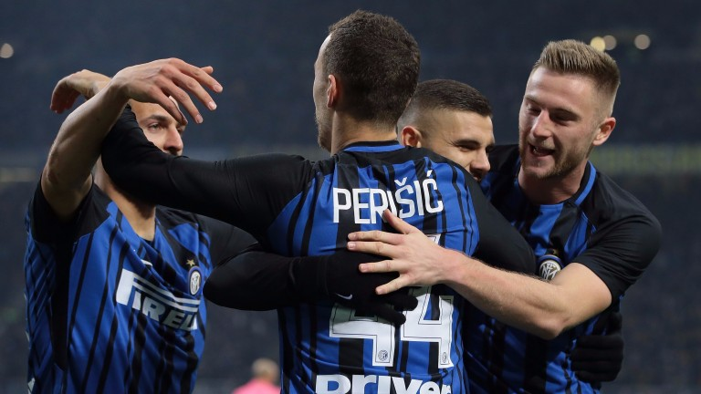 Inter celebrate Mauro Icardi's opener in a win over Atalanta