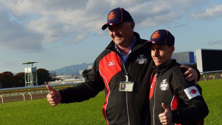 Trainer David Hayes and jockey Corey Parish meet the press ahead of Boom Time's attempt at the Japan Cup (