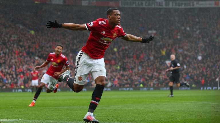 Anthony Martial celebrates scoring the only goal when Manchester United hosted Tottenham