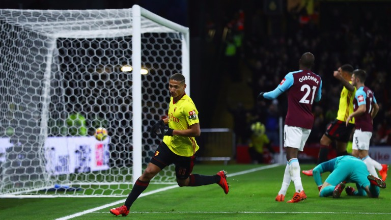 Richarlison wheels away after scoring for Watford against West Ham
