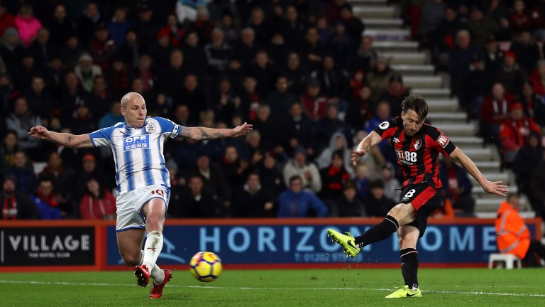Harry Arter scores Bournemouth's third goal against Huddersfield