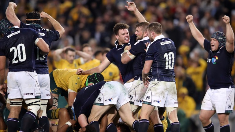 Scotland celebrate their victory over Australia in Sydney in June