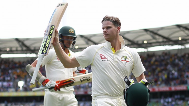Steve Smith acknowledges the adulation of the Gabba crowd