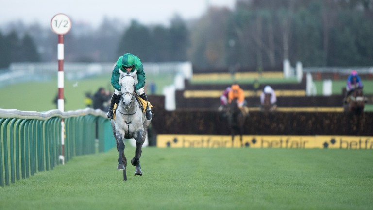Miles ahead: Bristol De Mai is almost a fence clear of his rivals in Haydock's Betfair Chase
