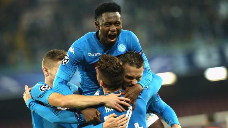 Napoli celebrate Tuesday's 3-0 win over Shakhtar Donetsk