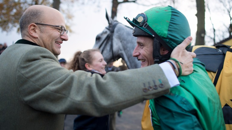 Co-owner Simon Munir with a delighted Daryl Jacob after Bristol De Mai's Haydock rout