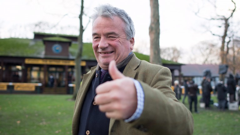 Thumbs-up: trainer Nigel Twiston-Davies after winning the Betfair Chase with Bristol De Mai