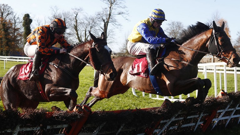 Mastermind (right) clears the last to win the three-year-old maiden hurdle at Gowran Park